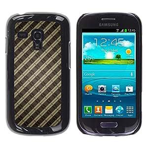 Be Good Phone Accessory // Dura Cáscara cubierta Protectora Caso Carcasa Funda de Protección para Samsung Galaxy S3 MINI NOT REGULAR! I8190 I8190N // Brown Lines Guitar Pattern Metal