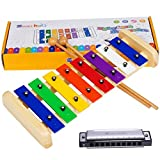 Smarkids Kids Xylophone Wooden Musical Toys Prime 8 Note Metal Keys Glockenspiel and Harmonica Instruments Set with Song Sheet for Toddler, Children, Boys and Girls with Xylophone Mallets