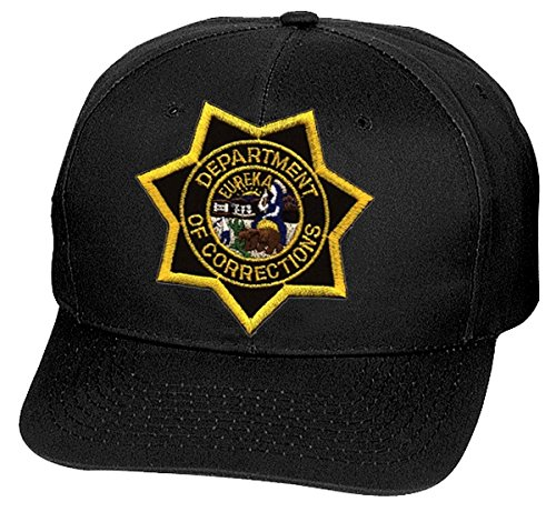 California Department of Corrections Cap/Hat Patch - Black, Size L-XL - CDC Star Flex Fit - CA DEPT. of Corrections - Jail, Prison, ()
