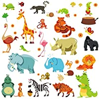DEKOSH Jungle Animal Wall Decal Pack of Colorful Stickers for Baby Nursery Playroom - Peel & Stick Unisex Safari Theme Kids Wall Decals