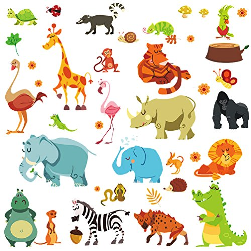 Dekosh Jungle Animal Wall Decal Pack of Colorful Stickers for Baby Nursery Playroom - Peel & Stick Unisex Safari Theme Kids Wall (Safari Wall Stickers)