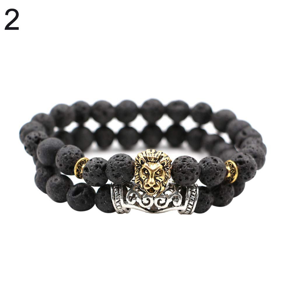 Powerfulline Exquisite 2Pcs Bracelets Set Unisex Lion Head Natural Stone Beads Bangle Couple Gifts Sale