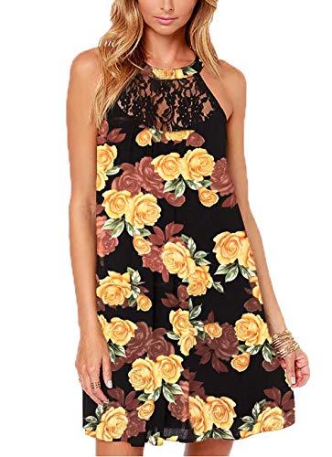 DREAGAL Women's Sleeveless Lace Patchwork Loose Casual Mini Chiffon Dress Yellow Floral XL - Patchwork Chiffon Dress