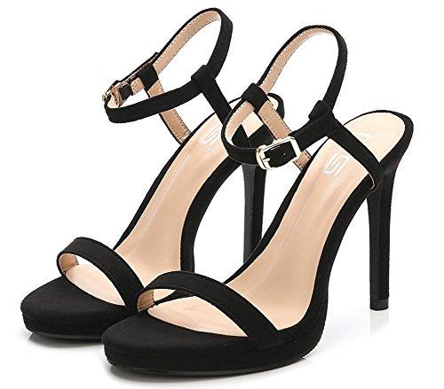 10 Noir Sandales Belle Talon Haut Aisun Unie Femme 5cm Couleur Basse 14nqBa
