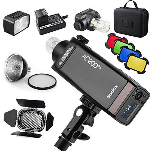 GODOX AD200Pro AD200 Pro with BD-07 Barn Door Honeycomb Grid 4 Color Filter Kit, Standard Reflector with Soft Diffuser, 200W 2.4G Flash Strobe, 1/8000 HSS, 500 Full Power Flashes, 0.01-2.1s Recycling