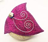 Cerise and Purple Felt Ivy Leaf Shaped Brooch Pin Cloak Clasp Shawl Pin