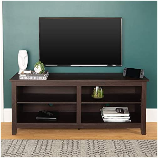 Walker Edison Furniture Minimal Farmhouse Wood Universal Stand for TV's up to 64″ Flat Screen Living Room Storage Shelves Entertainment Center, 58 Inch, Espresso