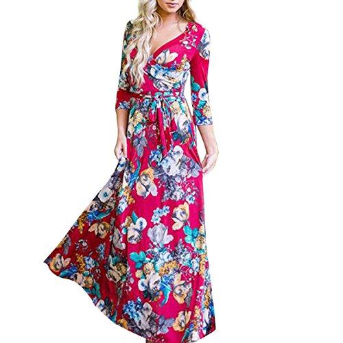 Linaking Hipsters Femmes Sexy Cou Mode V Imprimé Floral 3/4 Plage À Manches Longues Robe Maxi Pour La Robe De Dame Rouge
