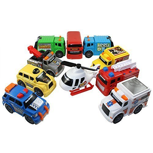 - Toy State Emergency City Vehicles set of 10- Police, Fire Truck, Ambulance, Action News Helicopter, Taxi, Bus, Recycle, Garbage & Tow Trucks - all Free-Wheeling some with Moving Parts Imagination Play