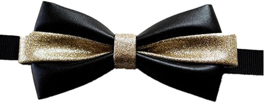 Hello Tie Mens Handmade Pre-tied Black Leather Bowtie With Luxury PU Inlay Bow Ties