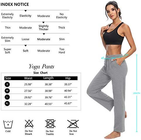 ZJCT Womens Cotton Sweatpants Straight-Leg Active Yoga Workout Joggers Pants Drawstring Loose Lounge Pants with Pockets 6