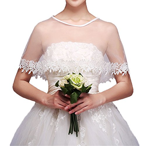 YULUOSHA Women Lace Bridal Shawl Wrap Shrug Bolero Wedding Tulle Cape for Bride