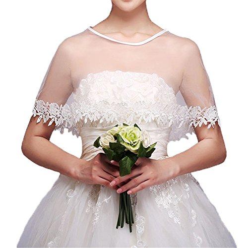 YULUOSHA Women Lace Bridal Shawl Wrap Shrug Bolero Wedding Tulle Cape for Bride