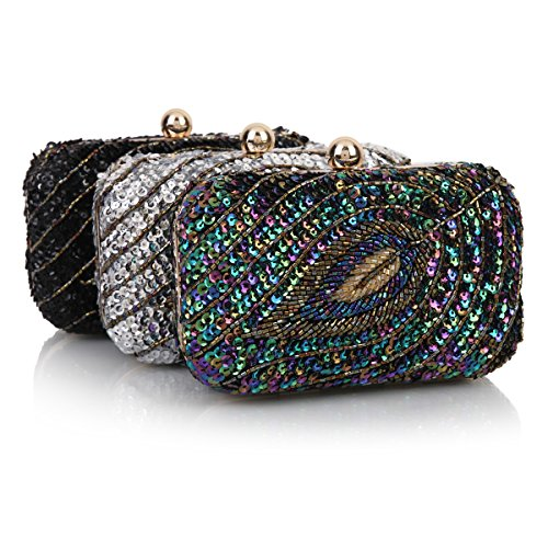 Party Sequins Bags Sparkling Evening Damara Wedding Hardbox Silver Womens qgyz4