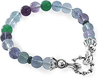 product image for Carolyn Pollack Sterling Silver Gemstone Beaded Bracelet Size S, M and L