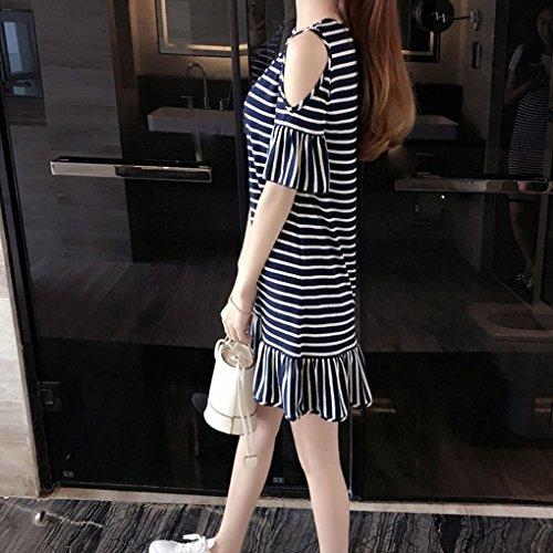 Raya y Negro de del Color de Providethebest de Fibra Vestido de la Hombro Verano la Poliester la XL Mujeres Manga XL Ocasionales Llamarada Vestido flojasbandas de Corto Rq8q1n6H