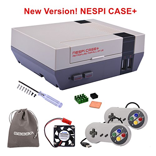 New Version! Retroflag NESPi Case+ Plus with USB Wired Game Controllers & Cooling Fan & Heatsinks for RetroPie Raspberry Pi 3/2 Model B & Raspberry Pi 3B+
