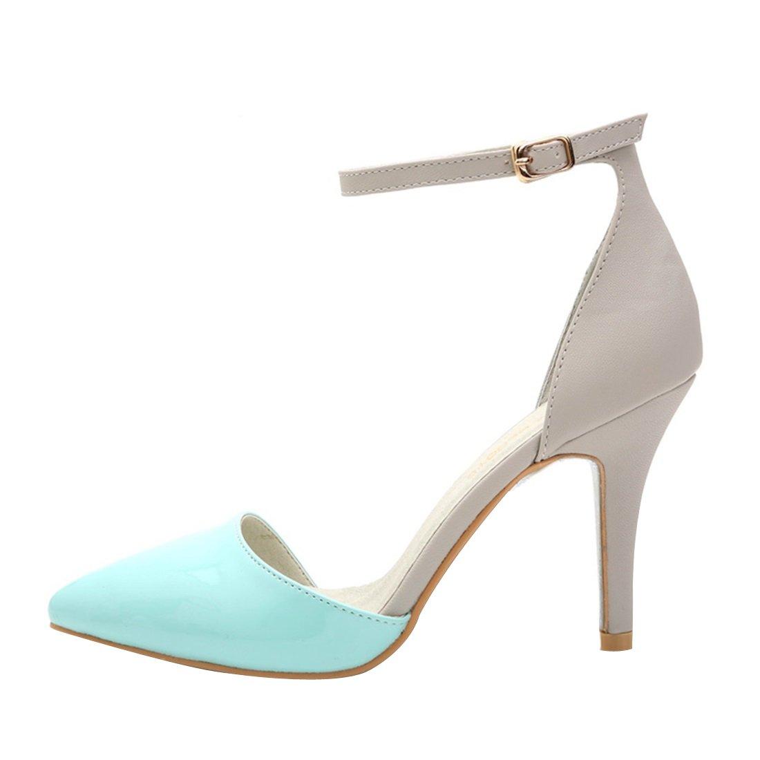 HooH Women's Patent Leather Ankle Strap D'Orsay Sandals Stiletto EU/5.5 Pumps 36 EU/5.5 Stiletto US Blue B013OWQG94 6e3d40
