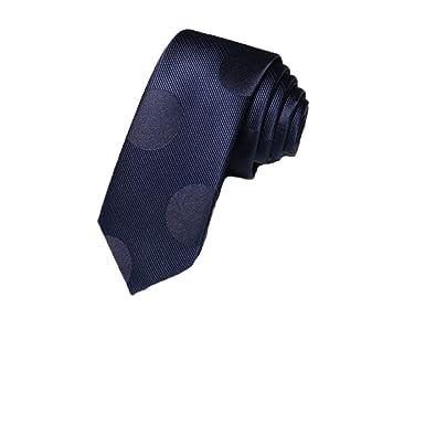 CHAOBAOBAO Corbata Azul Marino Angosta Masculina 5 Cm Punto De ...