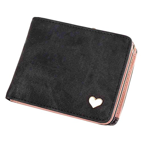 TJEtrade Wallets for Women Leather Bifold Card Holder Coin Purse Small Heart