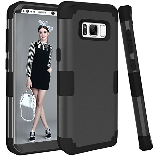 Galaxy S8 Plus Case,TOPBIN [Ultra Slim] 3 in 1 Premium Slim Lightweight Scratch Resistant Fit Cover Hard PC+ Soft Silicone Full-Body Protective Case for Samsung Galaxy S8 Plus (Black)