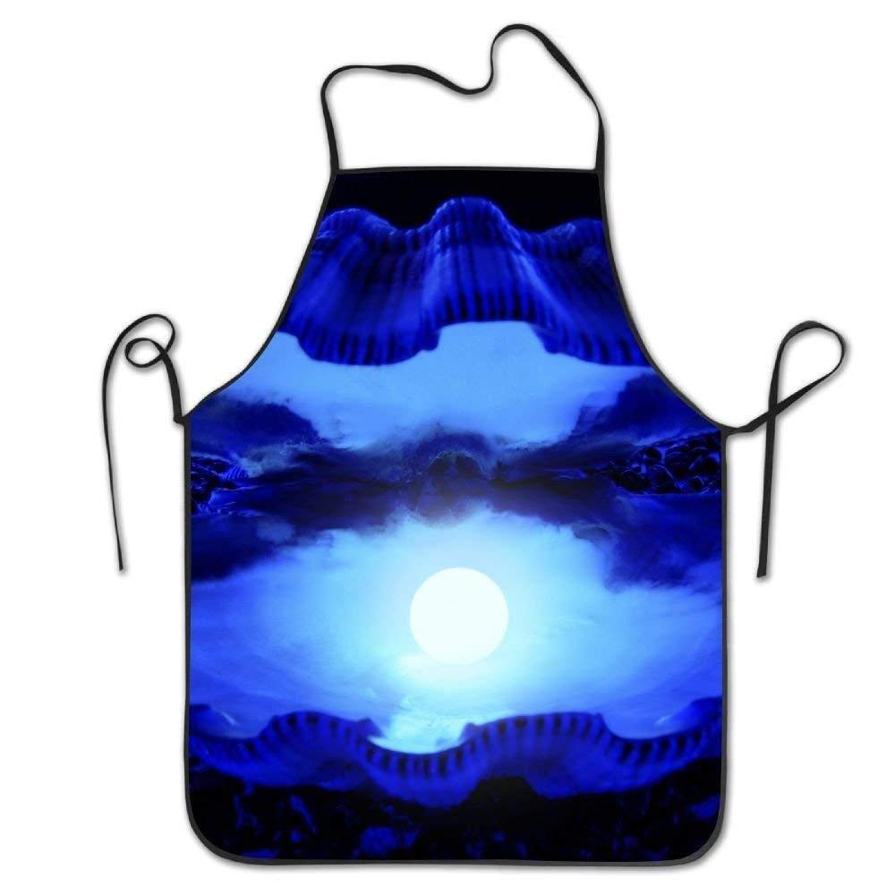 GDESFR Apron with pock,Blue Pearls Deluxe Aprons Personalized Printing Kitchen Apron