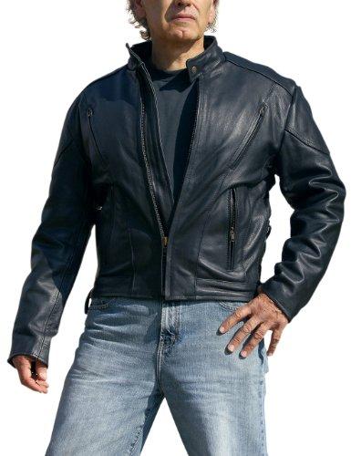 Interstate Leather Black Jacket - Interstate Leather Men's Touring Jacket (Black, XXX-Large)