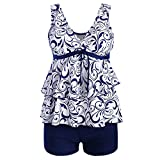 iLUGU Women Plus Size Bikini Set High Waist Beachwear Ruffle Swimwear Push-Up Padded Print Bra Floral Swimsuit