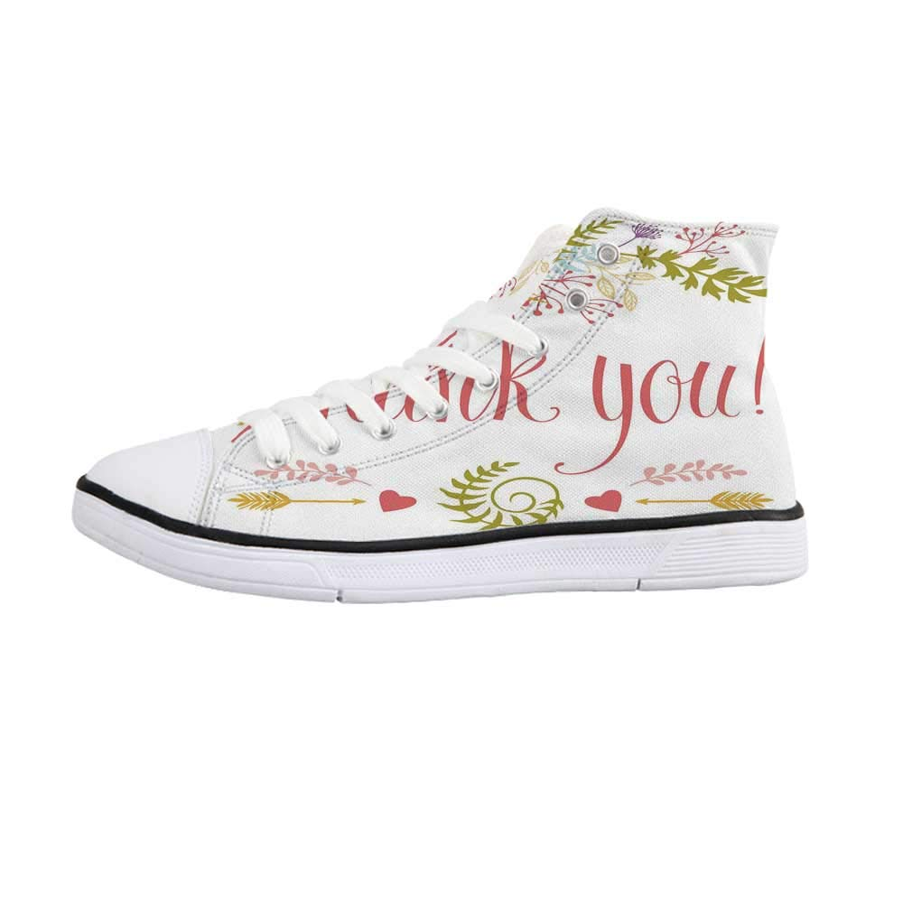 Nature Decor Comfortable High Top Canvas ShoesLandscape from Mother Earth Sunset by The Lake with Fall Trees Forest Image for Women Girls,US 5