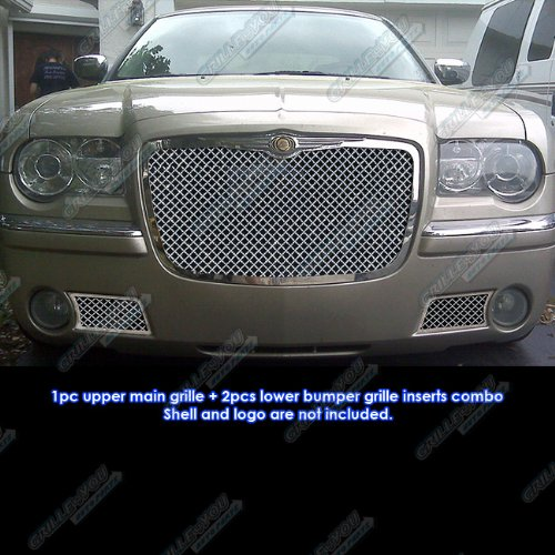 (APS Compatible with 05-10 Chrysler 300C Stainless Mesh Grille Combo Insert R71071U)