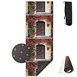 KJDHAPI2 The Old Wooden Doors Are Artfully Painted In European Style By The Medieval Entrance To Italy Single Side Print Yoga Mat With Carrying Strap For Fitness,Travel And Yoga Class