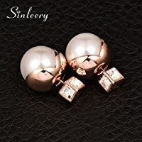 KassarinShop Trendy Women Double Sided Square Crystal White Pearl Stud Earrings