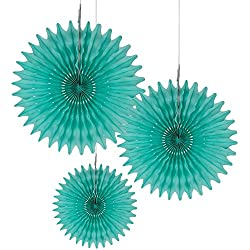 "Floral Reef Set of 3 Assorted sizes (10"", 14"", 16"") - LIGHT TURQUOISE Paper Tissue Rosettes Fan Medallions Hanging Home Decoration Wedding Party (3 Pack)"
