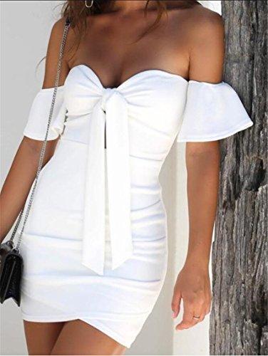 Front Bodycon Tie Bow Dresses Sexy 1 Mini Womens Jaycargogo Strapless Club qxYtqF