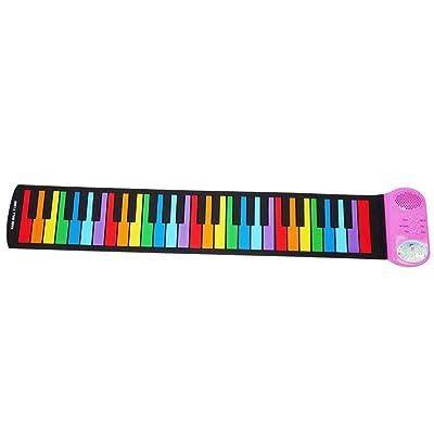 Roll Up Piano para niños Kid's 49 Keys Flexible Roll-Up Música electrónica digital Teclado de piano Diseño portátil con demostración de grabación Funciones de reproducción 6 canciones de demostración: Hogar