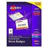 Avery 74459 Neck Hang Badge Holder w/Laser/Inkjet Insert, Top Load, 3h x 4w, White (Box of 100)