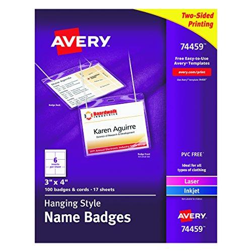 Avery Laser Name Badge (Avery 74459 Neck Hang Badge Holder w/Laser/Inkjet Insert, Top Load, 3h x 4w, White (Box of 100))