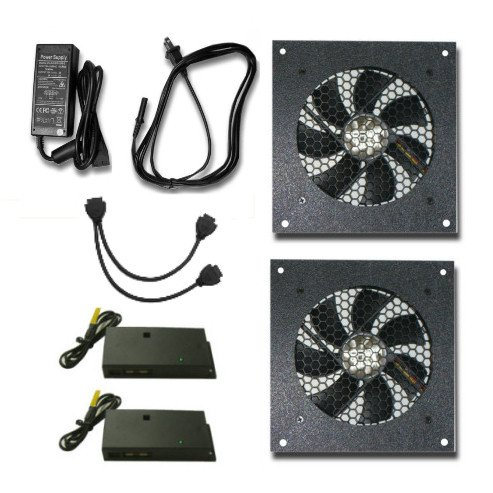 Cabcool 1201-2 Two-Single 120mm Kits with Thermal Control (Cabinet Fan Thermal Control compare prices)
