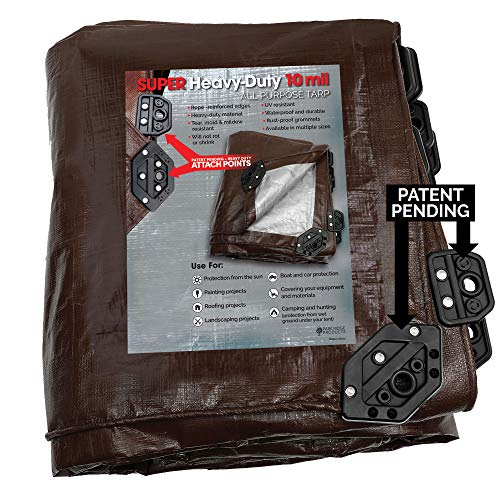Park Ridge Products SCTRP0420 4 x 20 ft Heavy-Duty Brown/Silver Reversible Poly 10 mil Tarp Super Corner,