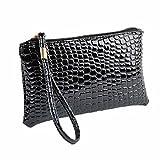 ShenPr Clearance Women Fashion Crocodile Alligator Leather Zipper Clutch Handbag Bag Coin Purse (Black)