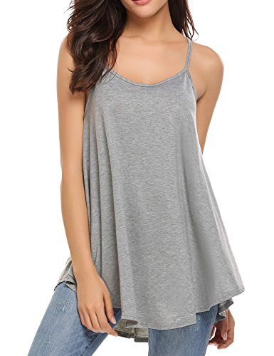 Soteer Women's Loose Casual Pleated Racerback Tank Top, Grey, Large