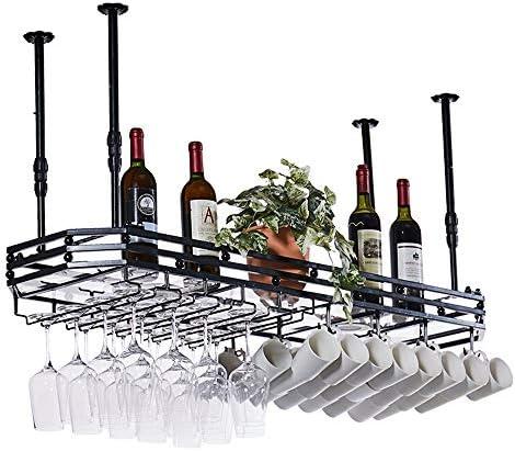 ワイングラスホルダー ガラスはアップサイドホームゴブレットクリエイティブデコレーションワイングラスハンガーラック グラスホルダー (Color : Black, Size : 80x35cm)