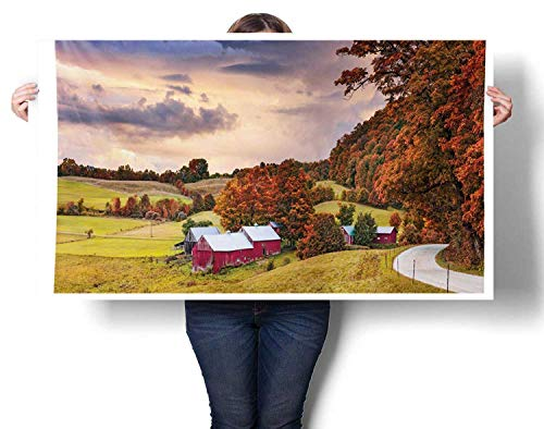 Sunset glow Art Wall Calendar Autumn Scene Jenne Farm in Vermont United States Barn Fall Season Historic Places Ready to Hang for Bedroom Living Room Kitchen Bathroom Artwork 36