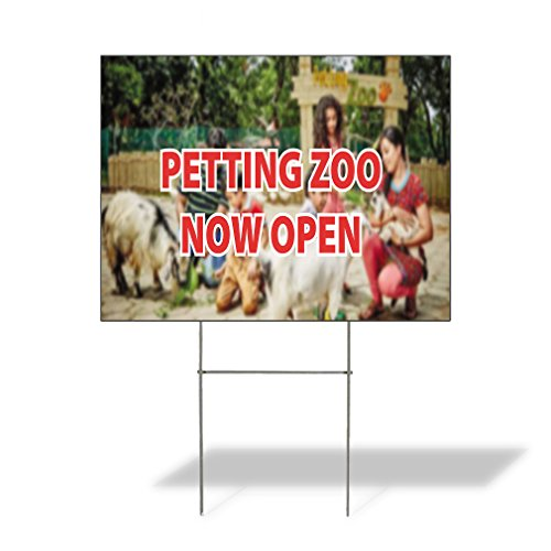 Petting Zoo Now Open Outdoor Lawn Decoration Corrugated Plastic Yard Sign - 12inx18in, Free Stakes ()