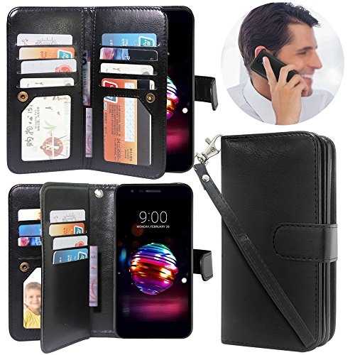 LG K30 Case, LG K10 2018 Case, LG Premier Pro Case, Lacass Detachable 2 in 1 Luxury PU Leather Flip Wallet Case with 12 Card Slots and Wrist Strap for LG K30 (X410) - Black by Lacass