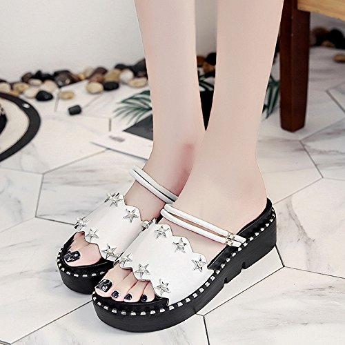 RUGAI-UE Zapatillas Mujer Verano inferior grueso pendiente de Playa de moda zapatos de mujer White