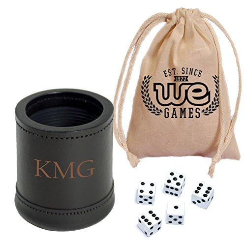 (WE Games Custom Engraved Mahogany Leather Dice Cup with 5 Dice and Storage Bag)