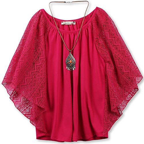 (Speechless Girls' Big 7-16 Circle Top with Necklace, Fuchsia, S )