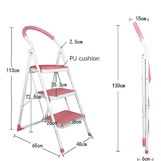 3 Paso Plegables El Hierro Escalera,multifunción Antideslizante Portátil Escaleras De Mano Para El Hogar Cocina Oficina Almacén-rosado: Amazon.es: Bricolaje y herramientas