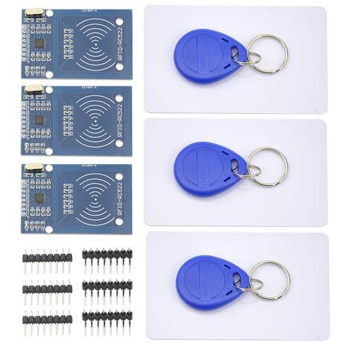 WMYCONGCONG 3 PCS RC522 RFID Kit Including RF IC Card Sensor Module S50 White Card Key Ring for Arduino Raspberry Pi